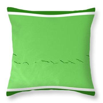 String Of Birds In Green Throw Pillow