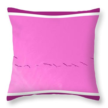 String Of Birds In Purple Throw Pillow
