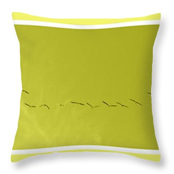 String Of Birds In Yellow Throw Pillow