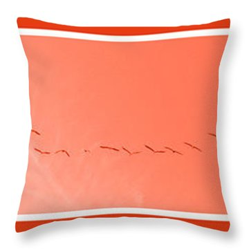 String  Of Brids In Red Throw Pillow