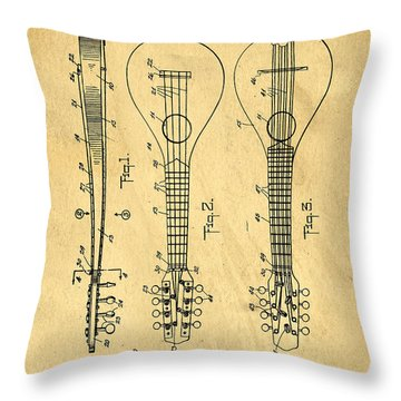 Stringed Musicial Instrument Patent Art Blueprint Drawing Throw Pillow