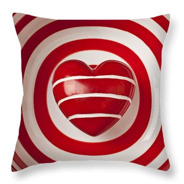Striped Heart In Bowl Throw Pillow by Garry Gay