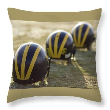 Striped Helmets On A Yard Line Throw Pillow