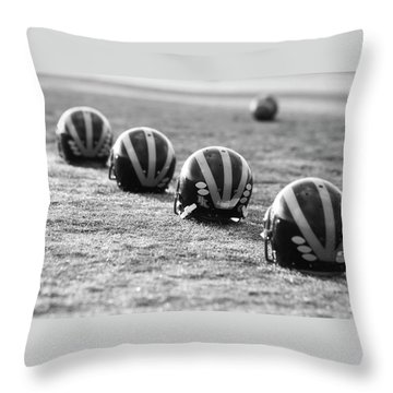 Throw Pillow featuring the photograph Striped Helmets On The Field by Michigan Helmet