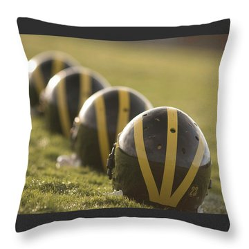 Striped Helmets On Yard Line Throw Pillow