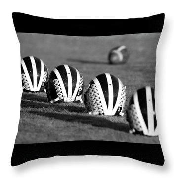 Striped Helmets With Football Throw Pillow