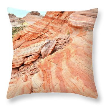 Throw Pillow featuring the photograph Striped Sandstone Along Park Road In Valley Of Fire by Ray Mathis