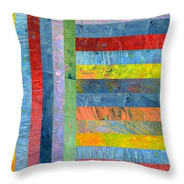 Stripes With Blue And Red Throw Pillow by Michelle Calkins