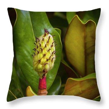 Stripped Magnolia  Throw Pillow