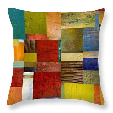 Strips And Pieces L Throw Pillow by Michelle Calkins