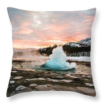 Strokkur Winter Blowup In Front Of Sunset Throw Pillow