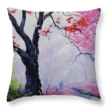 Stroll In The Mist Throw Pillow