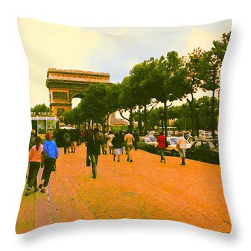 Strollers Along The Champs Elysees Throw Pillow