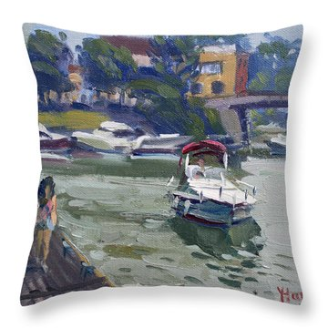 Strolling Along North Tonawanda Harbor Throw Pillow