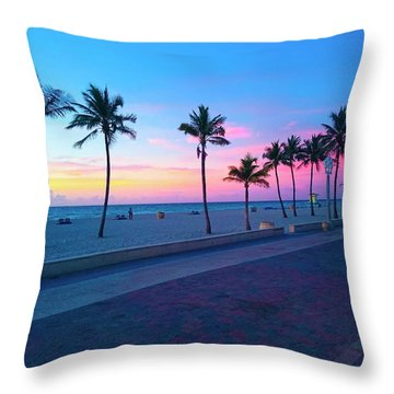 Throw Pillow featuring the photograph Strolling Along The Beach Under A Majestic Sunset by Patricia Awapara