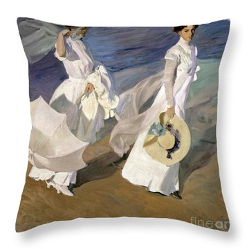 Strolling Along The Seashore Throw Pillow