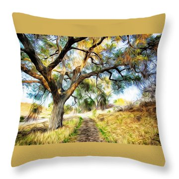 Strolling Down The Path Throw Pillow by Carol Crisafi