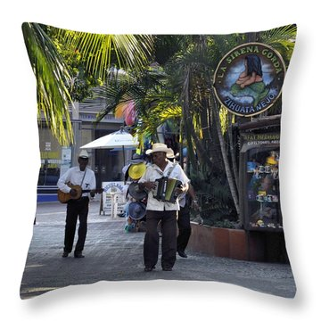 Throw Pillow featuring the photograph Strolling Musicians by Jim Walls PhotoArtist