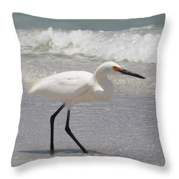 Strolling On The Beach Throw Pillow by Elvira Butler