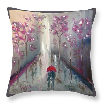 Strolling Throw Pillow by Roxy Rich