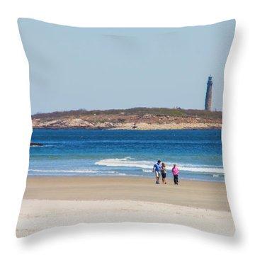 Strolling The Beach Throw Pillow