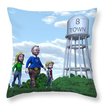 Throw Pillow featuring the painting Strolling Through 8 Town by Dave Luebbert