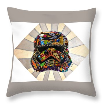 Throw Pillow featuring the tapestry - textile Strom Trooper Afrofuturist  by Apanaki Temitayo M