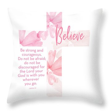 Strong And Courageous Cross- Art By Linda Woods Throw Pillow