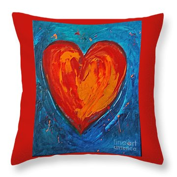 Throw Pillow featuring the painting Strong Heart by Diana Bursztein