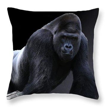 Strong Male Gorilla Throw Pillow