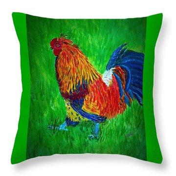 Strutting  Batam Rooster Throw Pillow