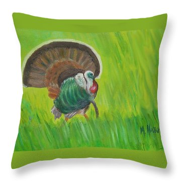 Strutting Turkey In The Grass Throw Pillow