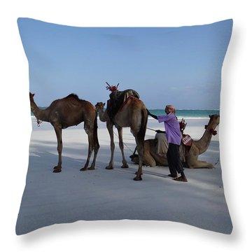 Stubborn Wedding Camels Throw Pillow