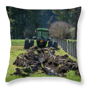 Stuck In The Muck Agriculture Art By Kaylyn Franks Throw Pillow