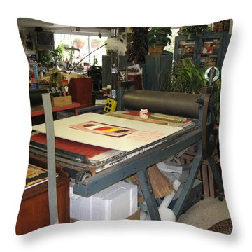 Throw Pillow featuring the mixed media Studio by Erika Chamberlin