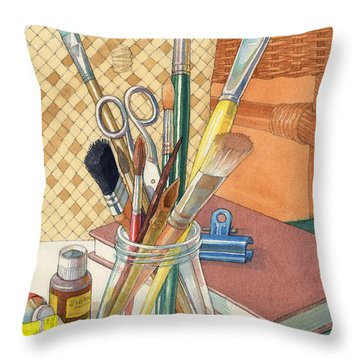 Throw Pillow featuring the painting Studio by Judith Kunzle