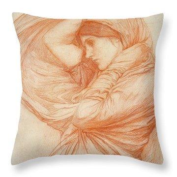 Study For Boreas Throw Pillow by John William Waterhouse
