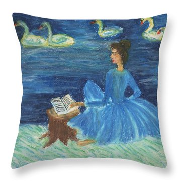 Study For Swan Lake Reader Throw Pillow by Sushila Burgess
