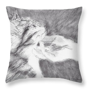 Throw Pillow featuring the drawing Study For Sweet Spot by Kathryn Riley Parker