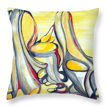 Study In Grey With Yellow And Red Throw Pillow