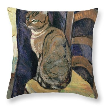 Study Of A Cat Throw Pillow by Suzanne Valadon