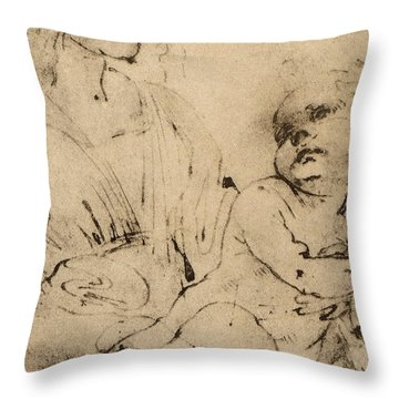 Study Of A Madonna And Child Throw Pillow