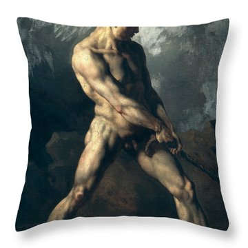 Study Of A Male Nude Throw Pillow by Theodore Gericault