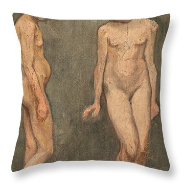 Study Of A Naked Model Throw Pillow