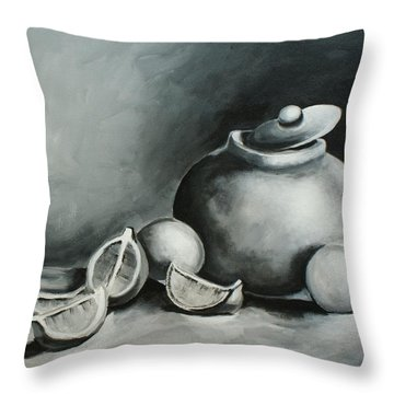 Study Of Lemons, Oranges And Covered Jug In Black And White Throw Pillow