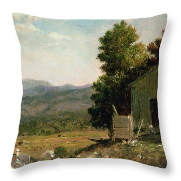 Study Of Old Barn In New Hampshire Throw Pillow by George Loring Brown
