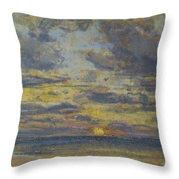 Study Of The Sky With Setting Sun Throw Pillow by Eugene Louis Boudin