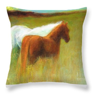 Throw Pillow featuring the painting Study Of Two Ponies by Frances Marino
