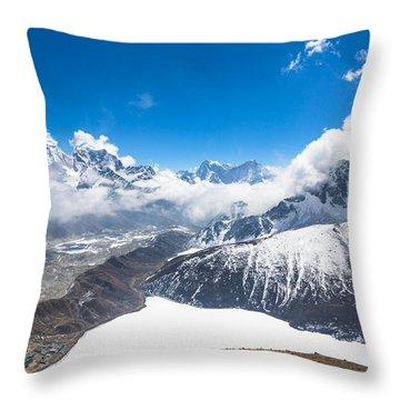 Stunning Panorama Over Gokyo In Nepal Throw Pillow