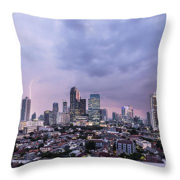Stunning Sunset Over Jakarta, Indonesia Capital City Throw Pillow